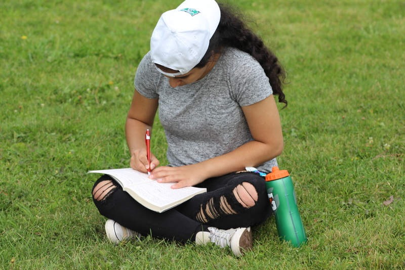 Girl writing, sitting in a field